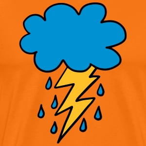 Cloud, flash, raindrop, weather, spring, rain, fun - Men's Premium T-Shirt