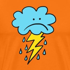 Angry Cloud, flash, raindrop, weather, funny, rain - Men's Premium T-Shirt