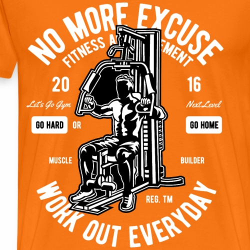 NO MORE EXCUSE - Workout Fitness Gym Shirt Motiv - Männer Premium T-Shirt