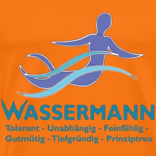 Wassermann 3 farbig Konturen weissDunkel - Männer Premium T-Shirt