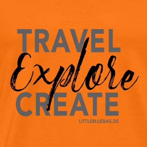 Travel explore create grau schwarz - Männer Premium T-Shirt