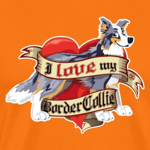 I Love My Border Collie - Merle Tricolor - Men's Premium T-Shirt