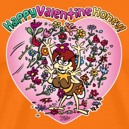 Valentinstag Biene Beea - Blumen Herz - Valentine - Männer Premium T-Shirt