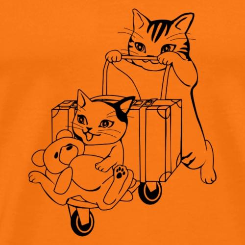 niedliche Katzen mit Teddybär - Männer Premium T-Shirt