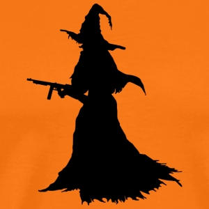 Witch med Assault Rifle / AK for Halloween - Premium T-skjorte for menn