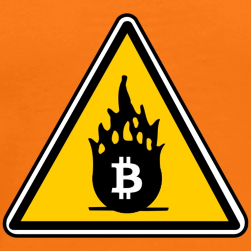 Warning Fire BITCOIN - Men's Premium T-Shirt