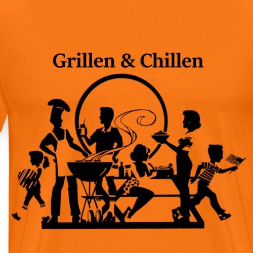 Grillparty Grillen und Chillen  Gute Geschenkidee - Männer Premium T-Shirt