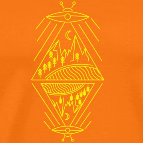 Ufo avvistamento paranormale montagne sole alberi - Maglietta Premium da uomo
