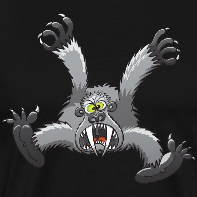 Angry silverback gorilla jumps and attacks