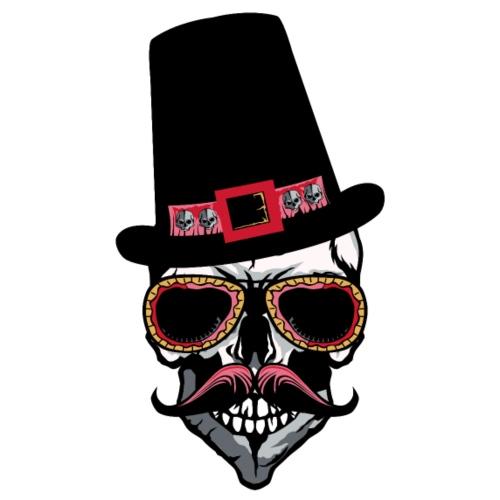tete de mort hipster moustache chapeau crane lunet - T-shirt Premium Homme