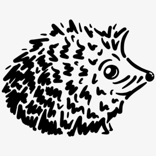 Herbstlicher Igel (schwarz-weiß Stencil-Look) - Männer Premium T-Shirt