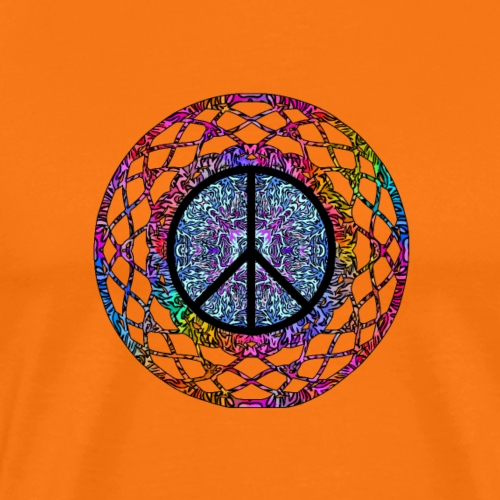 Psychedelisches Hippie Mandala mit Peace Symbol