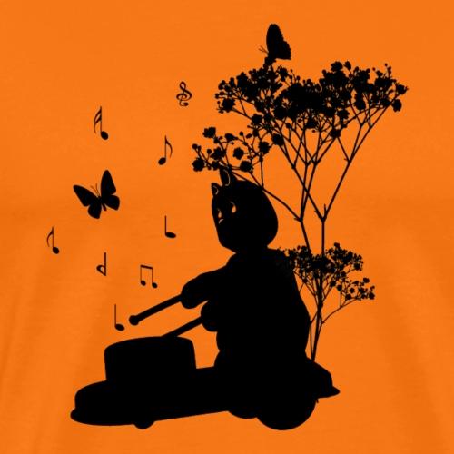 Silhouet tamboerijn en vlinders - Mannen Premium T-shirt