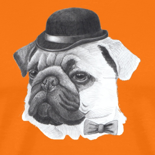 pug with bowler - Herre premium T-shirt
