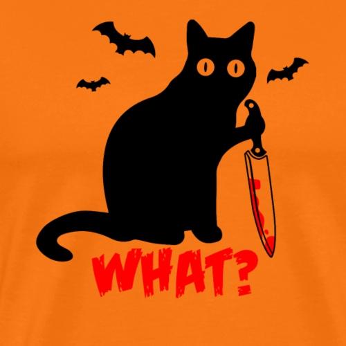 Was? Schwarze Psycho Katze mit Messer - Männer Premium T-Shirt