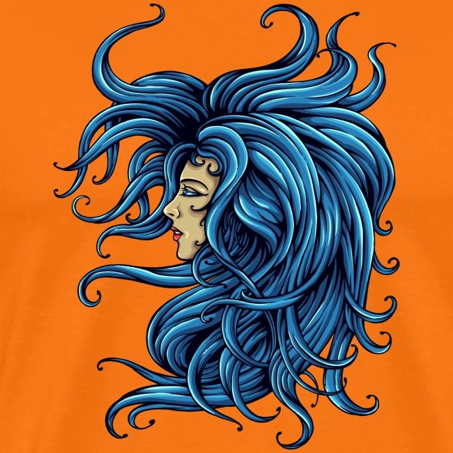 Dame dans le bleu