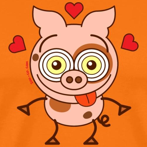 Cute pig feeling madly in love - Men's Premium T-Shirt