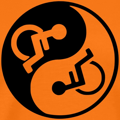 Wheelchair Yin en yang - Mannen Premium T-shirt
