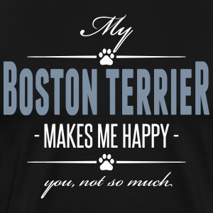 Min Boston Terrier gör mig glad - Premium-T-shirt herr