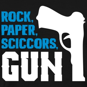 Funny rock paper scissors and gun - Men's Premium T-Shirt