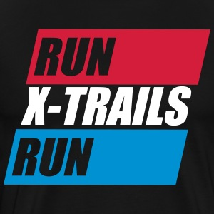 X-Spår. Kör-X-Trails-Run. Est. 2017 - Premium-T-shirt herr