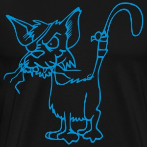 Cat with broken whiskers and eye patch - Men's Premium T-Shirt