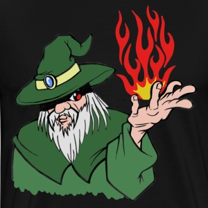 Willpower Wizard Green / Red Flame - No Text - Men's Premium T-Shirt