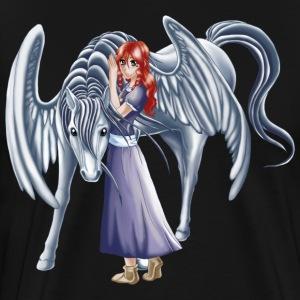 Girl and Pegasus 3 - Premium-T-shirt herr