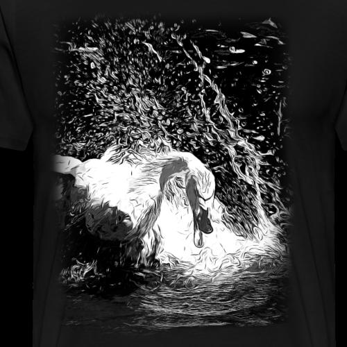 gxp schwan in aktion vektor kunst schwarz weiß - Männer Premium T-Shirt