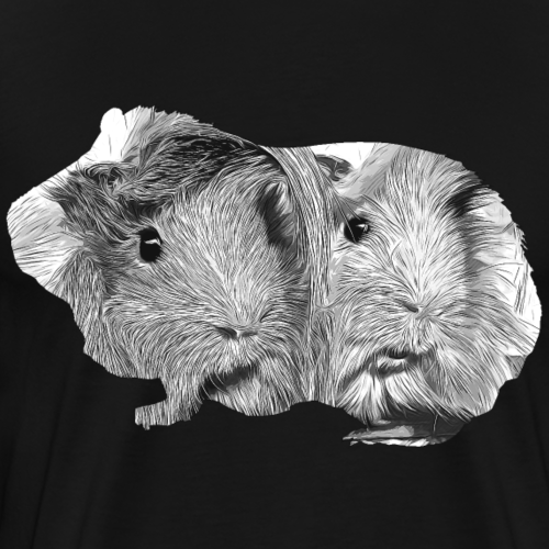 gxp meerschweinchen pärchen vektor schwarz weiß - Männer Premium T-Shirt