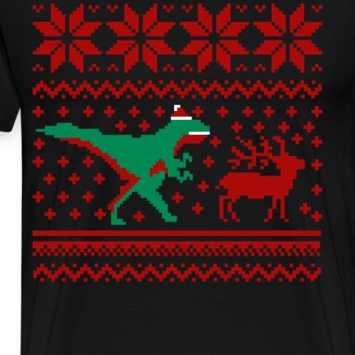 Ugly Christmas Sweater Shirt Dinosaurier jagt Ren - Männer Premium T-Shirt