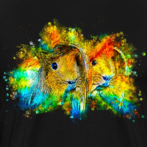 gxp meerschweinchen pärchen wasserfarbe spritzer - Männer Premium T-Shirt