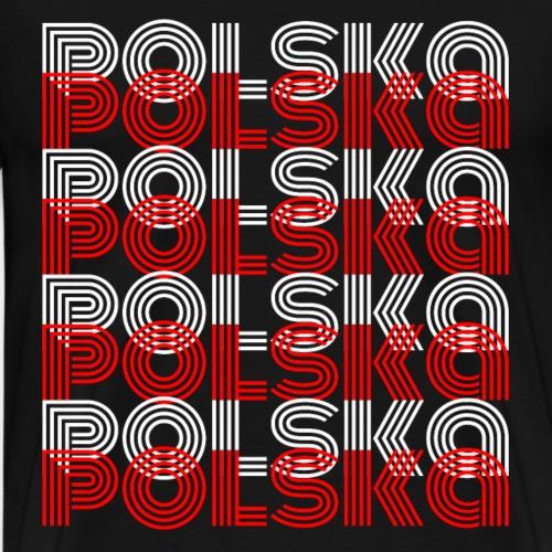 Polen Flagge Schrift Weiß Rot Polska - Männer Premium T-Shirt
