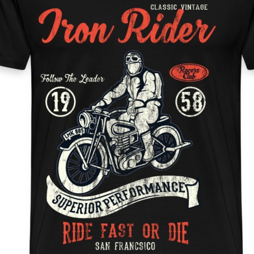 IRON RIDER - Vintage Motorrad und Biker Shirt - Männer Premium T-Shirt