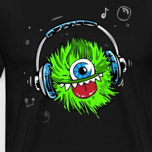 Monster green headphones music party humor lol fun - Men's Premium T-Shirt