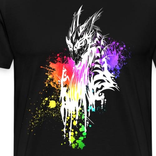 Drache Regenbogen-Kleckse weiß - Männer Premium T-Shirt