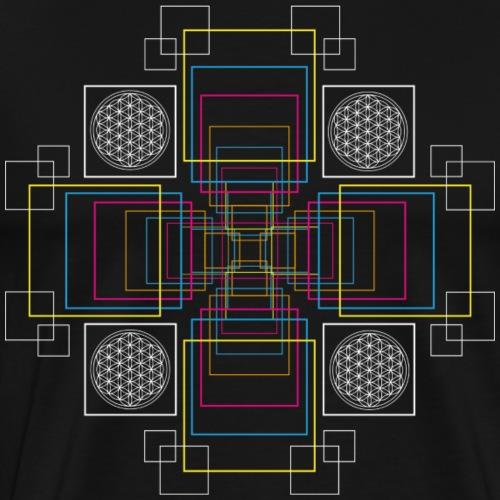 Lebensblume zum Quadrat - Männer Premium T-Shirt
