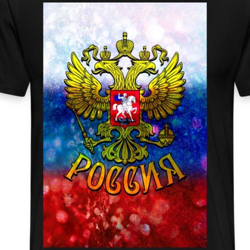 03 Russland Flagge Glitzer Wappen Adler Poster 2x3 - Männer Premium T-Shirt
