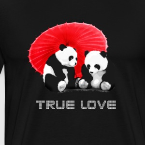 panda love true love Funny Asia screen together - Men's Premium T-Shirt
