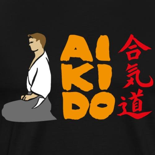 Aikido Seiza -fondo negro- - Camiseta premium hombre