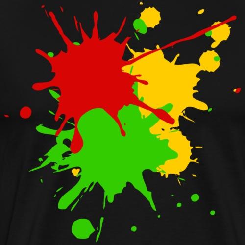 Reggae Farben Afrika Roots Flagge Farbspritzer - Männer Premium T-Shirt