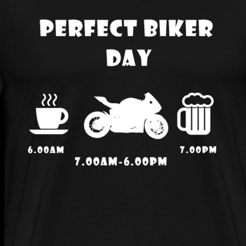 Perfect biker day street bike white - Männer Premium T-Shirt