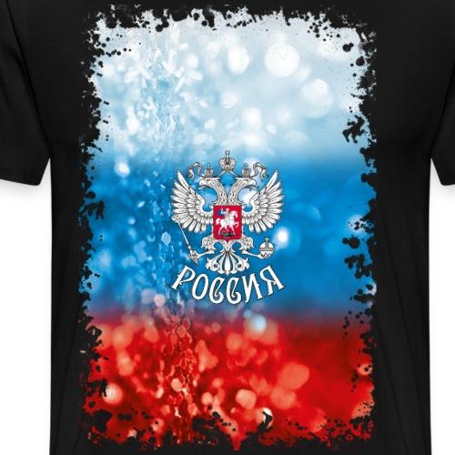02 Russland Flagge Glitzer Wappen Adler Poster 2x3 - Männer Premium T-Shirt