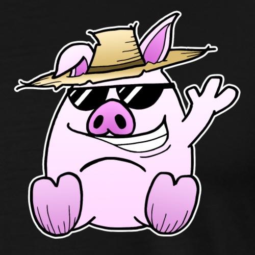 Schwein Sommer - Geschenk für Eltern und Kind - Männer Premium T-Shirt