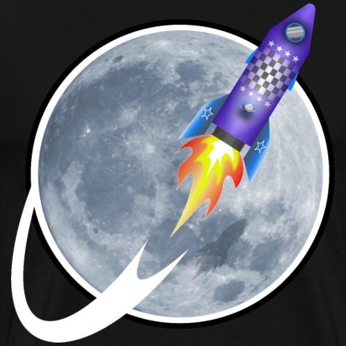 Rakete fliegt um den Mond - Männer Premium T-Shirt