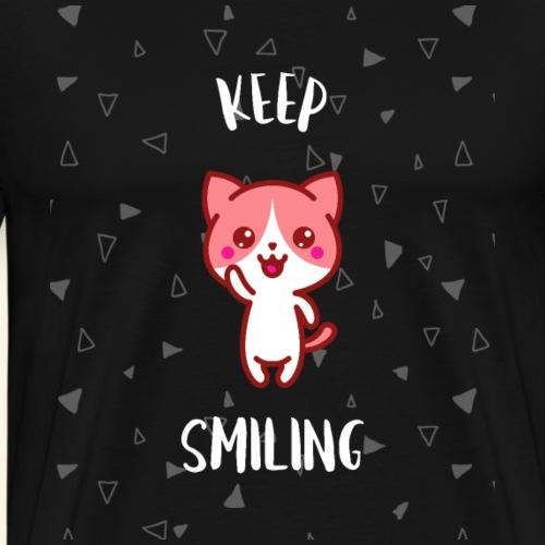 Keep Smiling Katzen Shirt Geschenk - Männer Premium T-Shirt