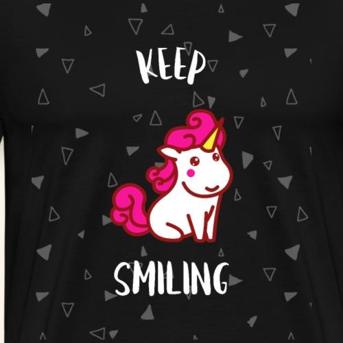 Keep Smiling Unicorn Einhorn-Shirt Geschenk - Männer Premium T-Shirt