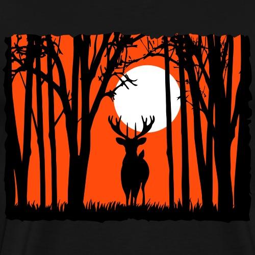 Sonnenuntergang mit Hirsch im Wald Rehbock Natur - Männer Premium T-Shirt