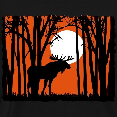 Sonnenuntergang mit Elch im Wald Rehbock Mond - Männer Premium T-Shirt