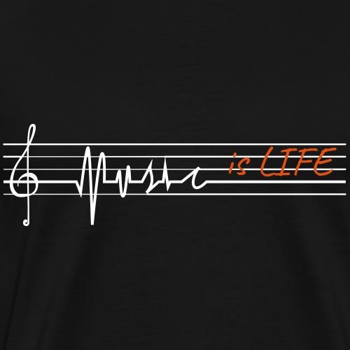 Music is life - treble clef - T-shirt Premium Homme